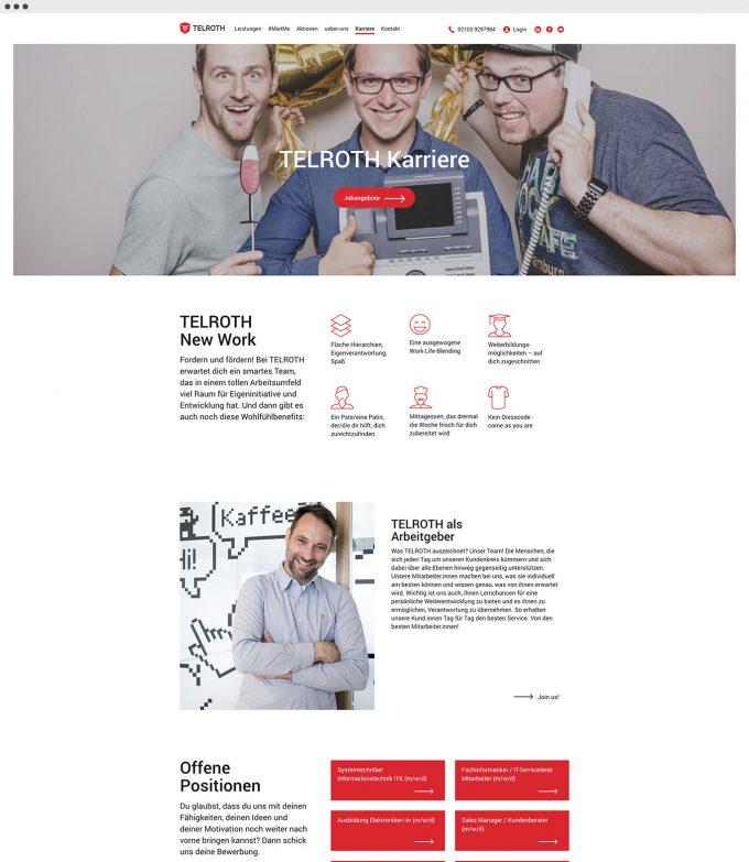 Website Mockup von TELROTH unterseite Karriere